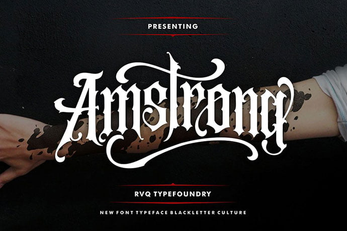 Amstrong-Typeface - 30+ Marvelous Gothic Blackletter Fonts [year]