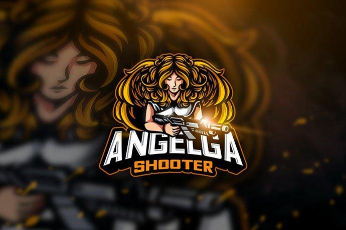 Angelga-Shooter - 60+ Personal & Team Branding AI & EPS eSports Logo Templates [year]
