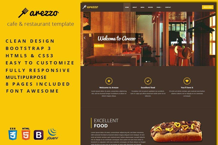 Arezzo - 41+ Stunning Restaurant Website HTML5 Templates [year]