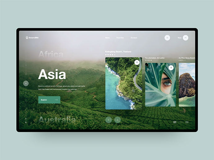AroundMe - 46+ Free Inspiration of Travel Web UI Designs [year]