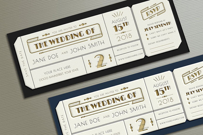 Art-Deco-Wedding-Invitation-Ticket - 30+ Awesome Wedding Invitation Ticket Templates [year]