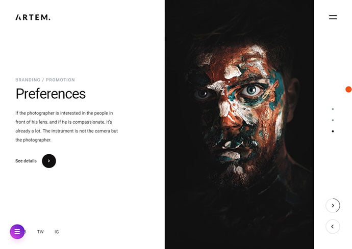 Artem - 35+ Awesome Twitter Bootstrap Portfolio Site Templates