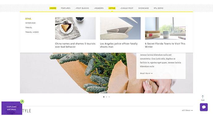 Artmag - 30+ Awesome Mega Menu Navigation WordPress Theme [year]