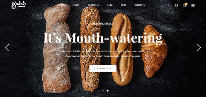 Baker - 30+ Excellent E-commerce WordPress Themes For Food & Drink [year]
