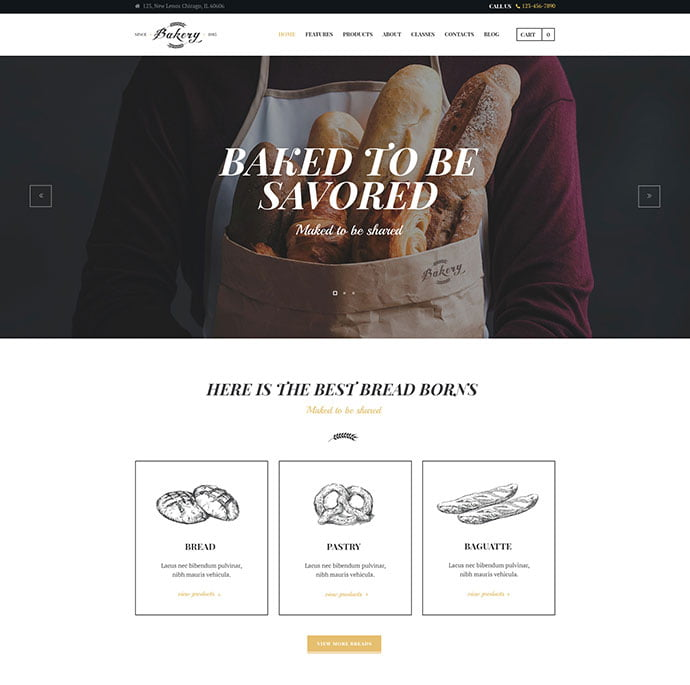 Bakery-Cafe-Pastry-Shop - 30+ Excellent E-commerce WordPress Themes For Food & Drink [year]