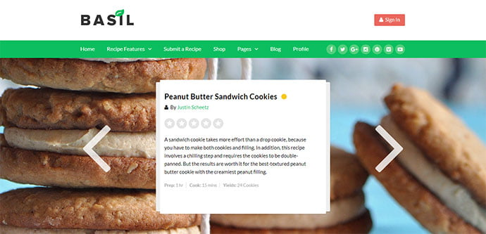 Basil-Recipes - 36+ Delicious Cooking Idea Share WordPress Themes [year]