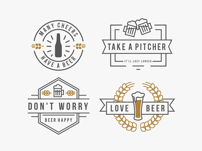 Beer-Badges-by-Mary-Anne-Ramirez - 50+ Fantastic BEST FREE Typographic Logo Badge Designs