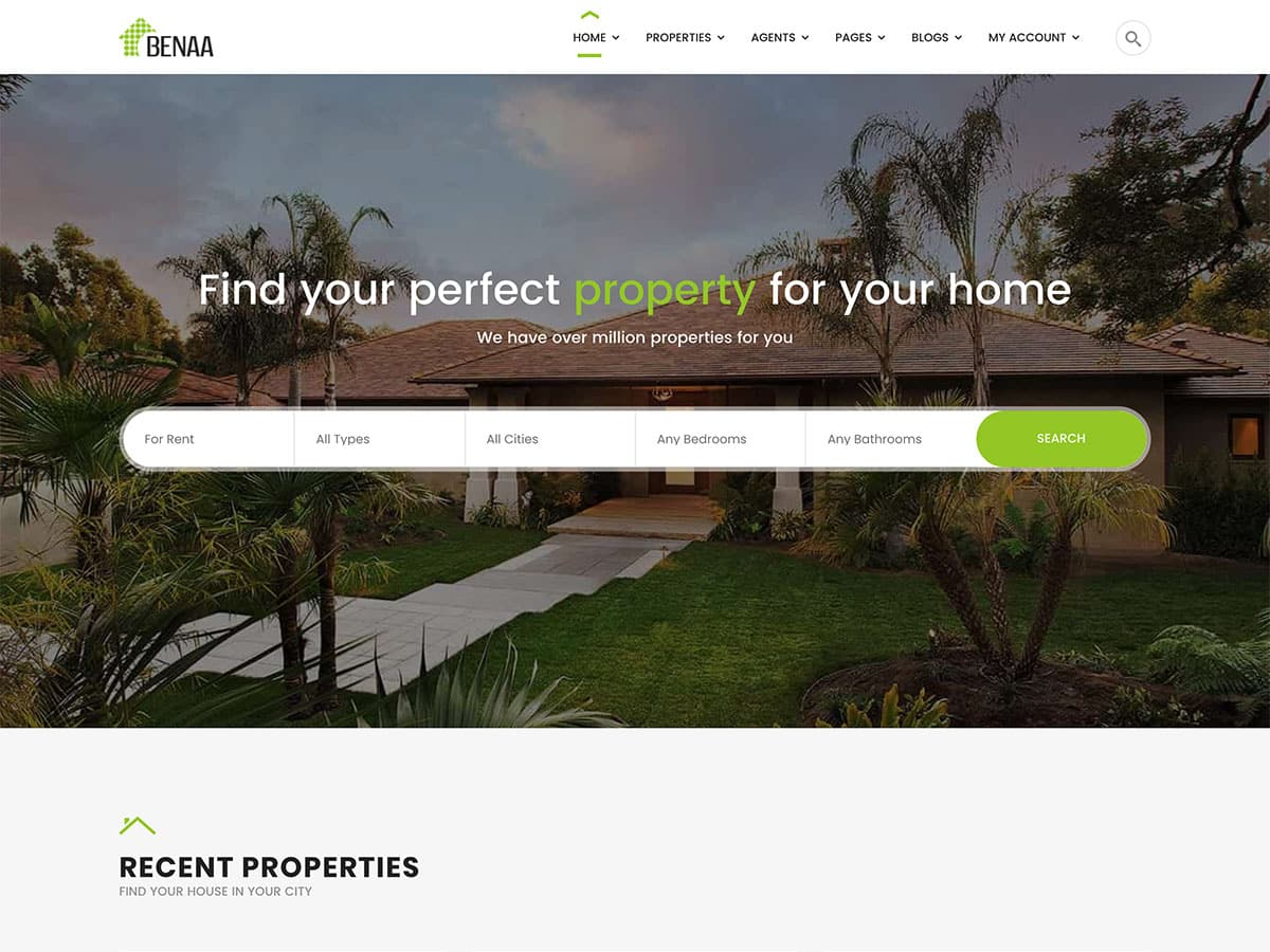 Benaa - 36+ Best WordPress Real Estate Themes [year]