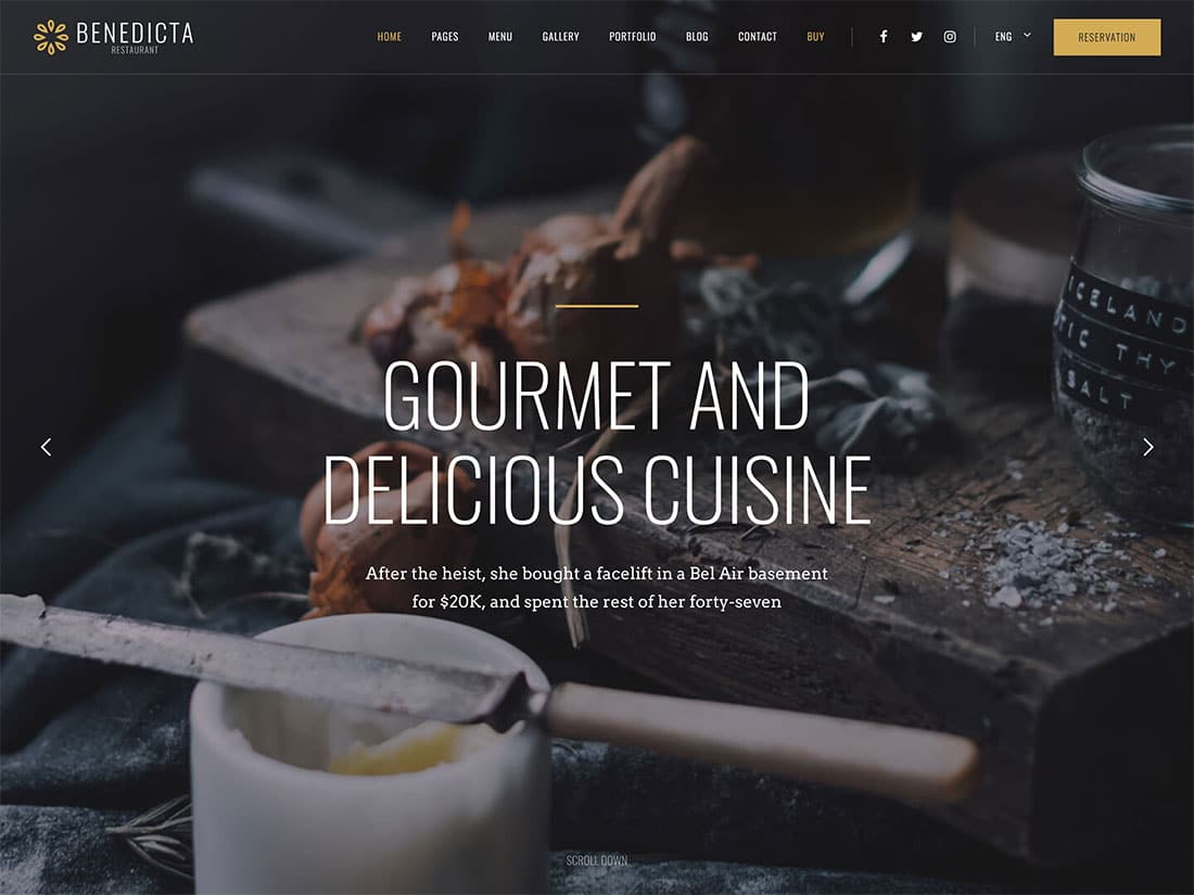 Benedicta - 51+ Best Restaurant WordPress Themes [year]