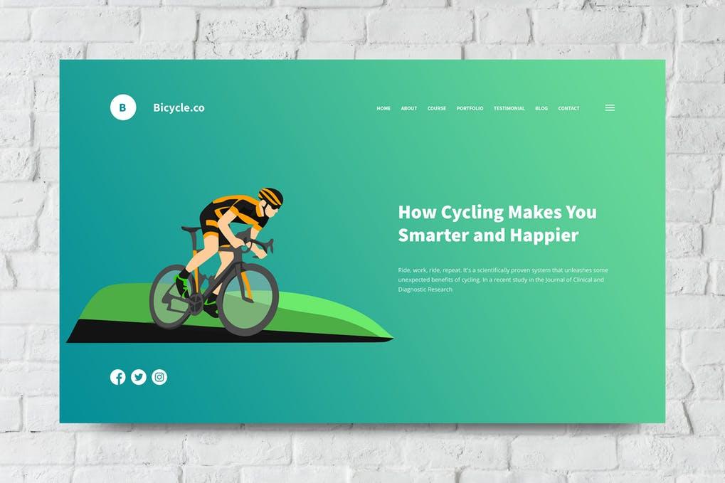 Bicycle-1 - 31+ Amazing Hero Image PSD Illustration Templates [year]