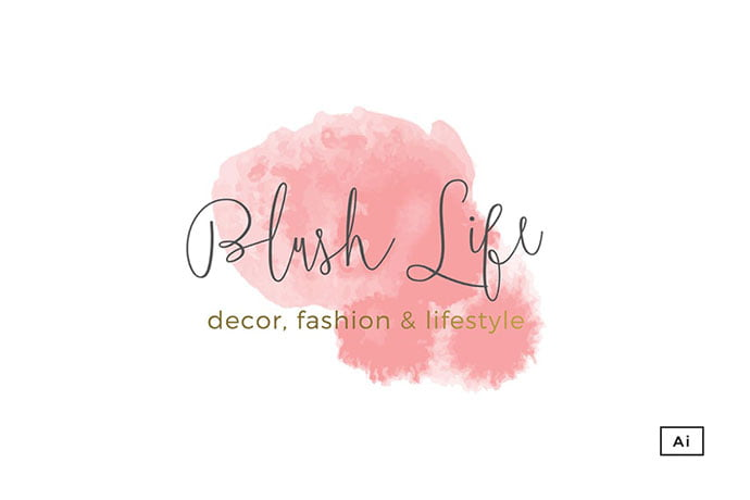 Blush-Life - 35+ Lovely Watercolor Logo Designs [year]