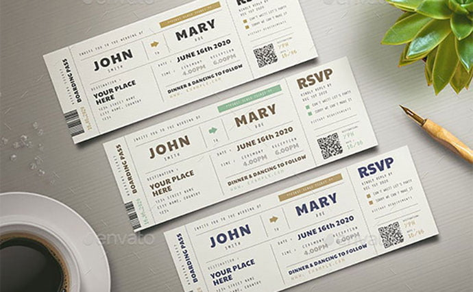 Boarding-Pass-Wedding-Invitation - 30+ Awesome Wedding Invitation Ticket Templates [year]