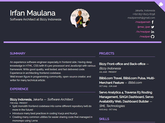 Bulma - 41+ Free HTML PSD & InDesign CV Resume Templates [year]