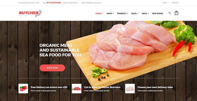 Butcher - 30+ Excellent E-commerce WordPress Themes For Food & Drink [year]