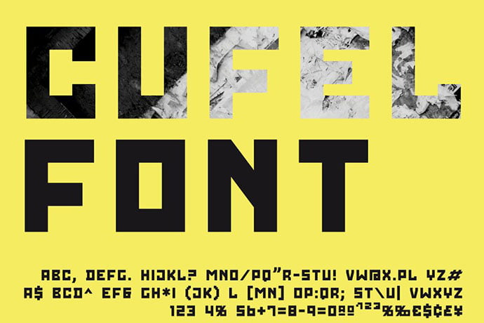 CUFEL-Font - 30+ Awesome BEST Square based Geometric Fonts [year]