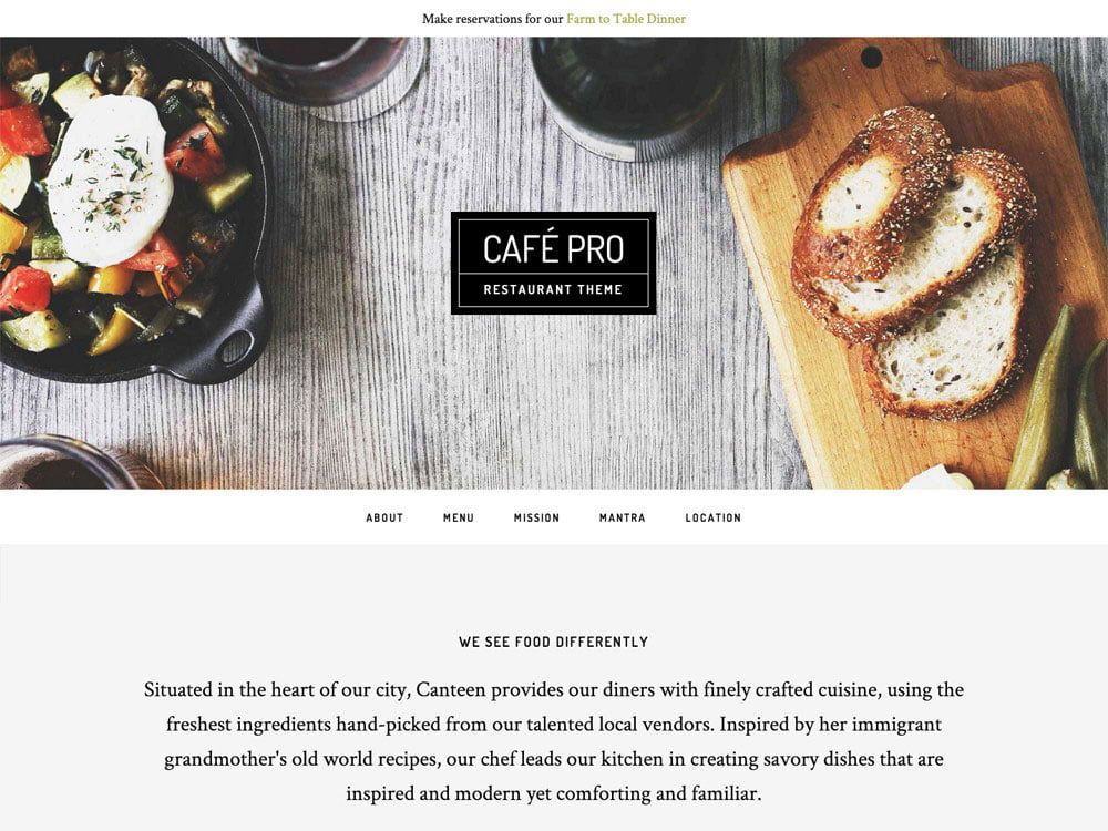 Café-Pro-Theme - 51+ Best Restaurant WordPress Themes [year]