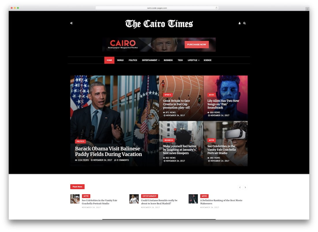 Cairo - 34+ Awesome Mobile First Free & Premium AMP Themes [year]