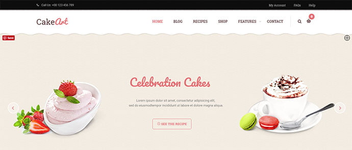 Cake-Art - 36+ Delicious Cooking Idea Share WordPress Themes [year]