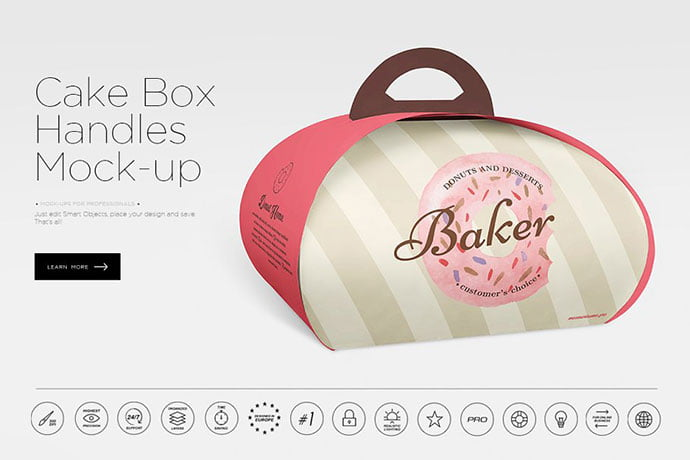 Cake-Box-Handles - 60+ Delicious Food Packaging PSD Mockup Design Templates [year]