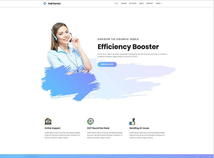 CallCenter - 77+ Best Free HTML & CSS Clean Simple Website Templates [year]