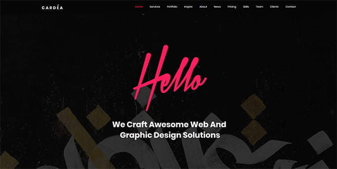 Cardea - 30+ Stunning Typography Portfolio WordPress Themes [year]