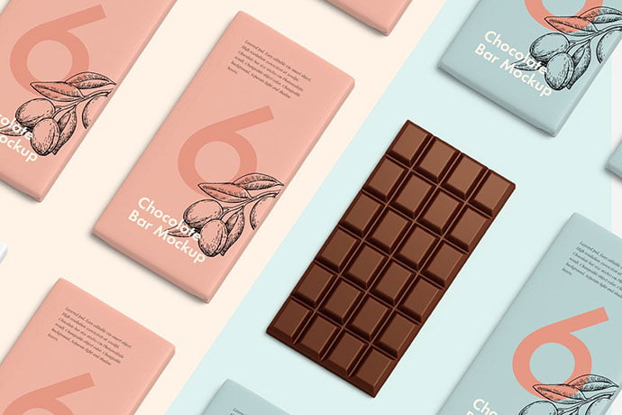 Chocolate-bar - 60+ Delicious Food Packaging PSD Mockup Design Templates [year]