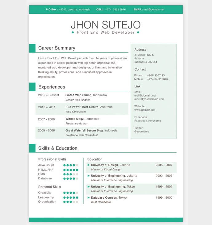 Clean-One-Page-Resume - 41+ Free HTML PSD & InDesign CV Resume Templates [year]