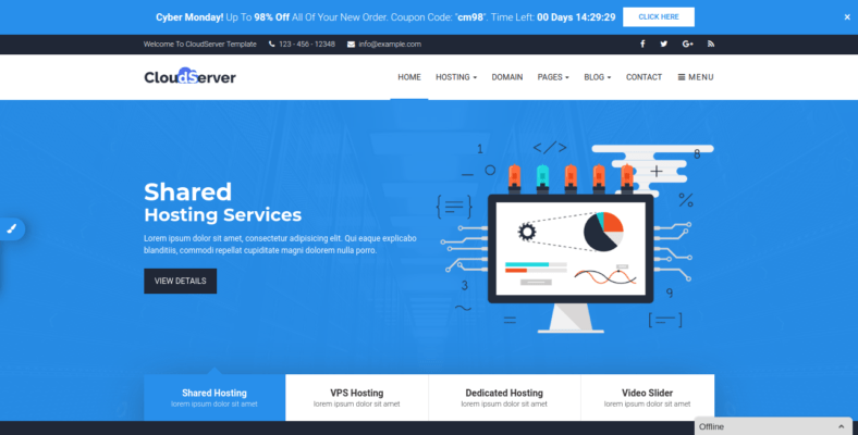 CloudServer - 41+ Awesome Responsive HTML5 Web Templates [year]