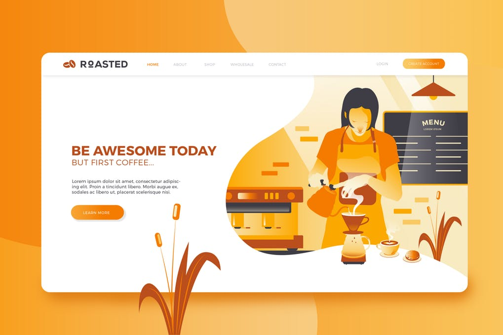 Coffee-Shop-1 - 31+ Amazing Hero Image PSD Illustration Templates [year]