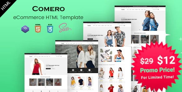Comero - 77+ Best Free HTML & CSS Clean Simple Website Templates [year]