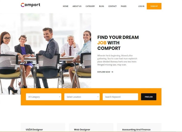 Comport - 77+ Best Free HTML & CSS Clean Simple Website Templates [year]