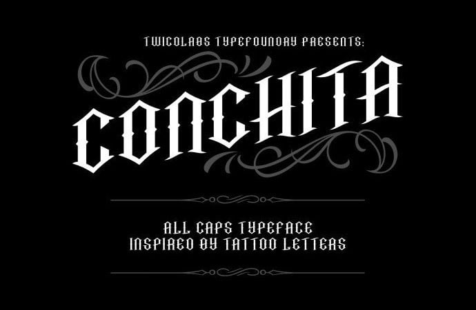 Conchita - 30+ Marvelous Gothic Blackletter Fonts [year]