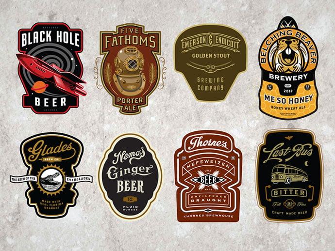 Cran-Beer-Labels-by-David-Cran - 50+ Fantastic BEST FREE Typographic Logo Badge Designs