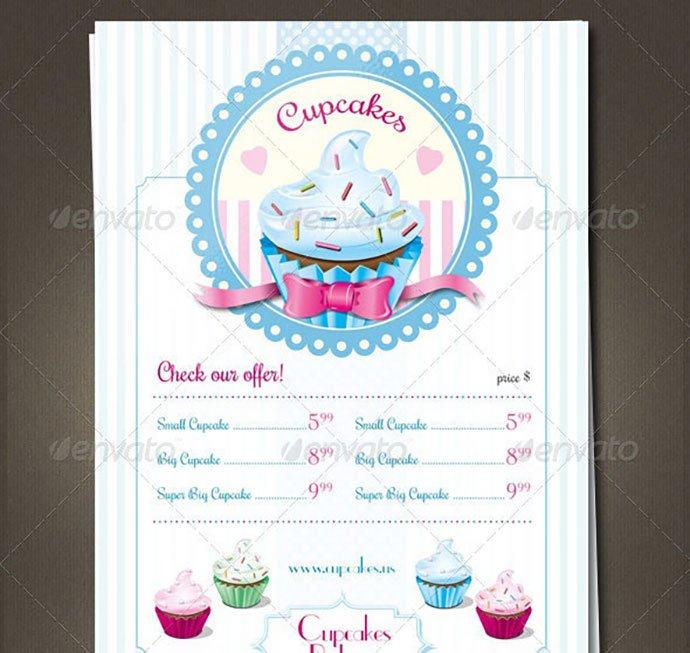 Cupcakes-Retro-Menu-Flyer - 35+ NICE Cake and Bakery Menu Design [year]
