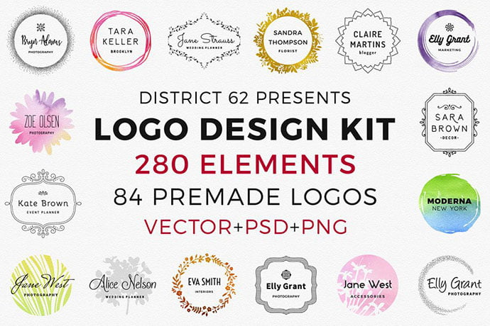 D62-Logo-Design-Kit - 35+ Lovely Watercolor Logo Designs [year]
