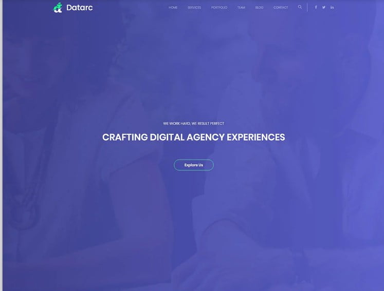 Datarc - 77+ Best Free HTML & CSS Clean Simple Website Templates [year]