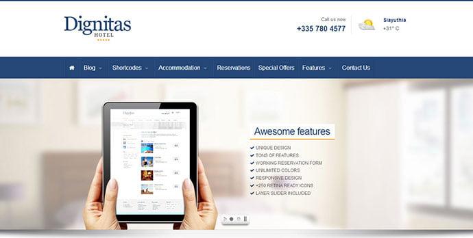 Dignitas - 30+ Amazing Resorts & Hotels WordPress Themes [year]