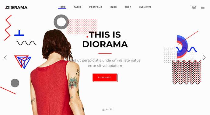 Diorama-2 - 31+ Impressive Big Fonts & Bright Colors WordPress Themes [year]