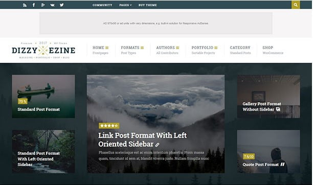 DizzyMag - 31+ Top WordPress Themes For Best Adsense Optimized [year]