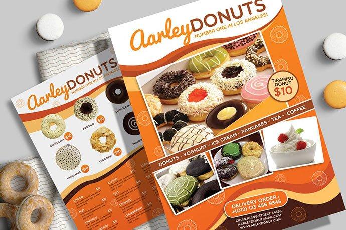Donuts-Menu-Flyer - 35+ NICE Cake and Bakery Menu Design [year]