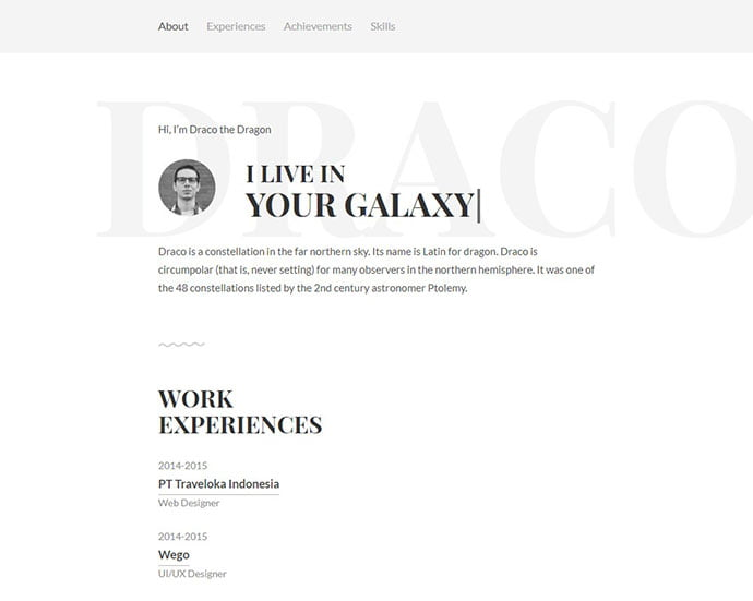Draco - 41+ Free HTML PSD & InDesign CV Resume Templates [year]