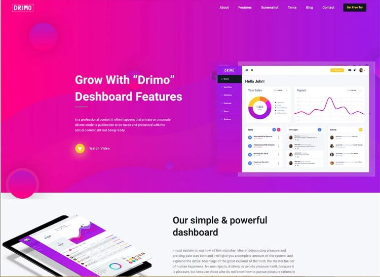 Drimo - 77+ Best Free HTML & CSS Clean Simple Website Templates [year]