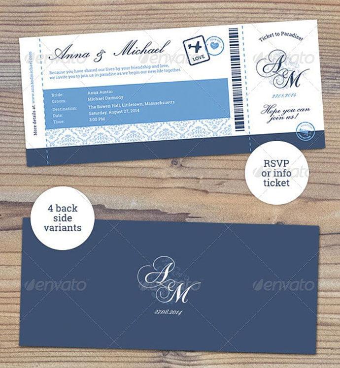 Elegant-Boarding-Pass-Wedding-Invitation-RSVP - 30+ Awesome Wedding Invitation Ticket Templates