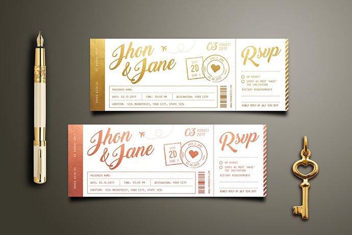 Elegant-Gold-Wedding-Invitation-Ticket - 30+ Awesome Wedding Invitation Ticket Templates