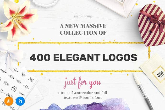 Elegant-Logo-Bundle-400-Logos - 35+ Lovely Watercolor Logo Designs [year]