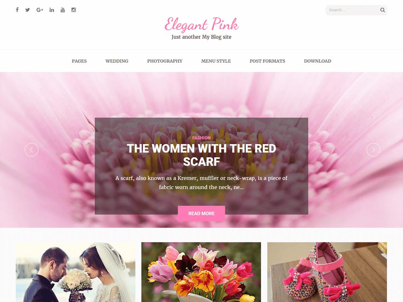 Elegant-Pink - 18+ Best Free Wedding WordPress Themes