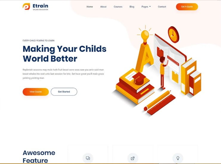 Etrain - 77+ Best Free HTML & CSS Clean Simple Website Templates [year]