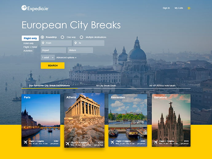 Expedia-Cover - 46+ Free Inspiration of Travel Web UI Designs [year]