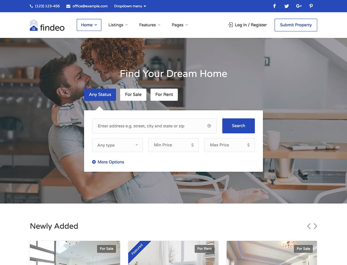 Findeo - 36+ Best WordPress Real Estate Themes [year]