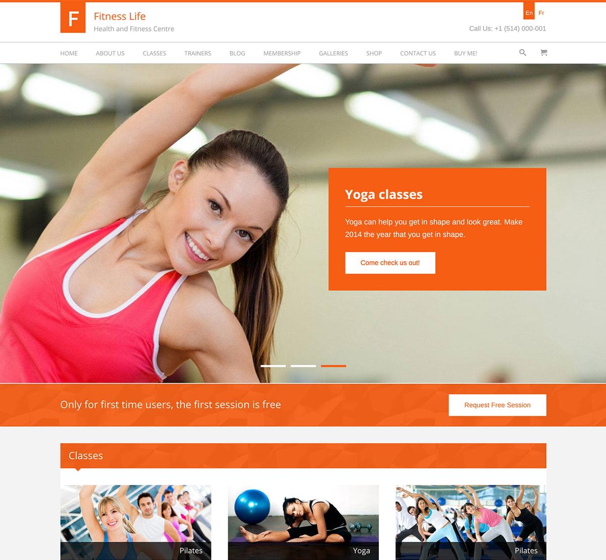 FitnessLife - 32+ Best WordPress Themes For Yoga [year]